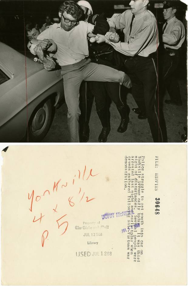 Police arrest protesters in Yorkville following a demonstration against the Vietnam War in 1968.