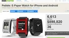 Screen shot of Pebble Kickstarter crowdfunding page
