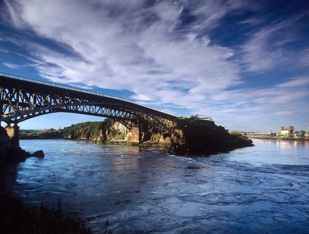 The Reversing Falls phenomenon caused by the interaction of the Saint John River and the Bay of Fundy is a major tourist attraction in New Brunswick.