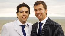 Maxime St. Pierre, left, and Liberal MP Scott Brison pose in an official wedding photo in Cheverie, Nova Scotia, taken August 18, 2007. The wedding marked the first time that a federal politician married his same-sex partner. (HO)