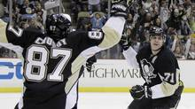 Pittsburgh Penguins stars Sidney Crosby and Evgeni Malkin. (Gene J. Puskar/AP)
