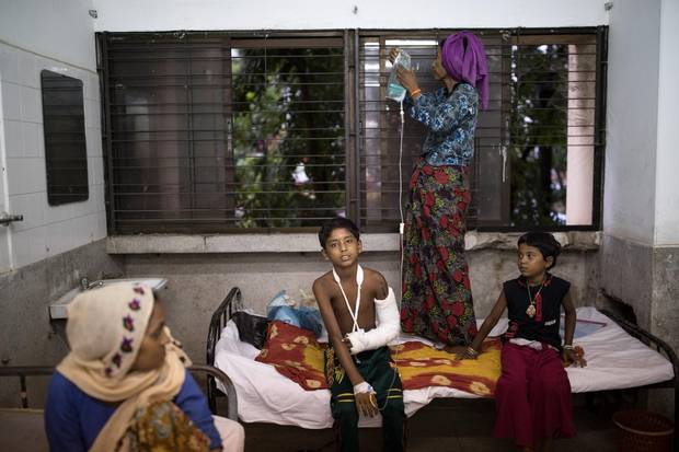 Patients recover at the Sadar Hospital in Cox's Bazar, Bangladesh. The Sadar hospital is currently looking after around 30 patients suffering from a range of things, including road accidents, beatings and gunshot wounds. Recent reports have suggested that around 290,000 Rohingya have now fled Myanmar after violence erupted in Rakhine state. The 'Muslim insurgents of the Arakan Rohingya Salvation Army' have issued statement that indicates that they are to observe a cease fire, and have asked the Myanmar government to reciprocate.