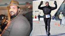 Jef Combdon before and after his 105-pound weight loss.