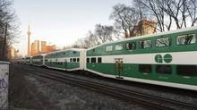 A GO Transit train heads west after leaving Union Station in Toronto on April 22 2013. Halton Regional Police are are investigating after a pedestrian was hit by a GO train in Oakville Dec. 27, 2013. (Fred Lum/The Globe and Mail)