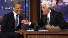 U.S. President Barack Obama makes an appearance on the Tonight Show with Jay Leno (R) in Los Angeles, California October 24, 2012. (Reuters)