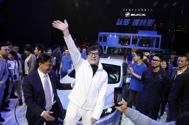 Movie star Jackie Chan at the global launch of the Buick Velite 5, a extended range electric hybrid.