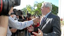 Manitoba NDP Leader Greg Selinger speaks to media after visiting Government House in Winnipeg on Sept. 6, 2011 to officially drop the writ on the provincial election campaign. (JASON HALSTEAD/Jason Halstead/The Canadian Press)