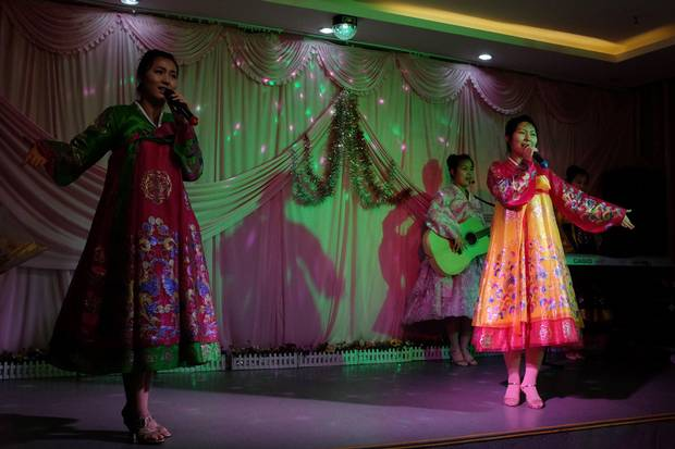 A North Korean band performs for tourists at a hotel in Hunchun.