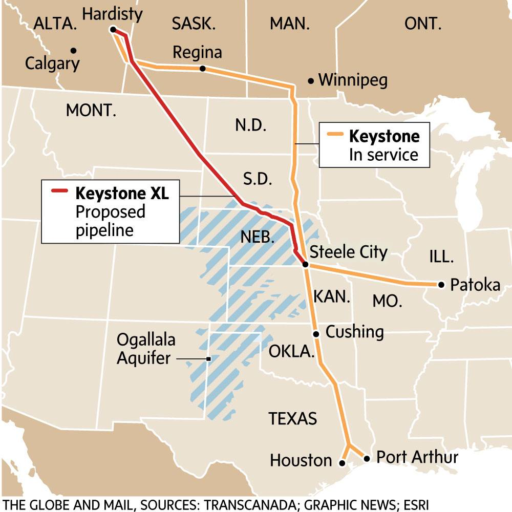map showing keystone pipeline route from Hardisty, Alta., to Texas.