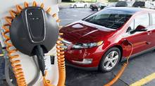 A 2012 Chevrolet Volt electric vehicle parked at a solar-powered electric charging station. (REBECCA COOK/Reuters)