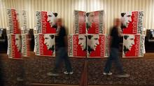 Ignatieff signage outside the Sheraton Centre ballroom in Toronto on election night. (Peter Power/The Globe and Mail/Peter Power/The Globe and Mail)