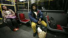 Lesbert Campbell rides the Dufferin bus south after finishing work as a cleaner in downtown Toronto. (Charla Jones/The Globe and Mail/Charla Jones/The Globe and Mail)