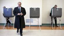 Former Calgary mayoral candidate and current Tory leadership hopeful Ric McIver walks away from a voting booth after marking his ballot in the City of Calgary municipal election in Calgary, Monday, Oct. 18, 2010. (Jeff McIntosh/THE CANADIAN PRESS)