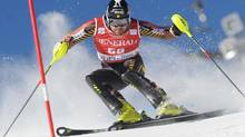 Canada's Julien Cousineau competes during the first run of an alpine ski, men's World Cup slalom, in Val d'Isere, France, Sunday, Dec. 15, 2013. (MARCO TACCA/AP)