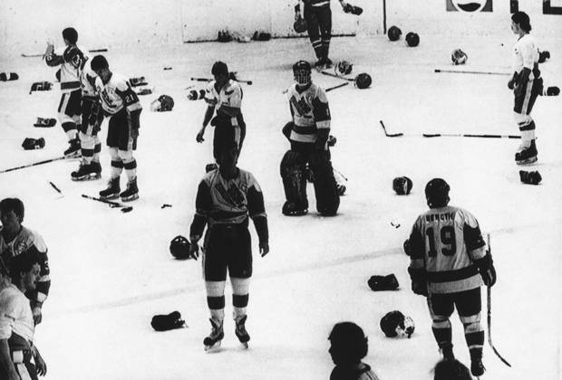 Players from Canada and the former Soviet Union staged a bench-clearing brawl at the 1987 World Junior Hockey Championships in the former Czechoslovakia.