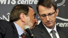 NHL Commissioner Gary Bettman (L) talks with True North Sports and Entertainment Chairman Mark Chipman as they attend a news conference in Winnipeg, Manitoba, May 31, 2011. Canada reclaimed one of its lost NHL franchises on Tuesday when the Atlanta Thrashers were sold to True North Sports and Entertainment and relocated to Winnipeg, triggering wild celebrations in the Prairie city. REUTERS/Fred Greenslade (Fred Greenslade/Reuters)