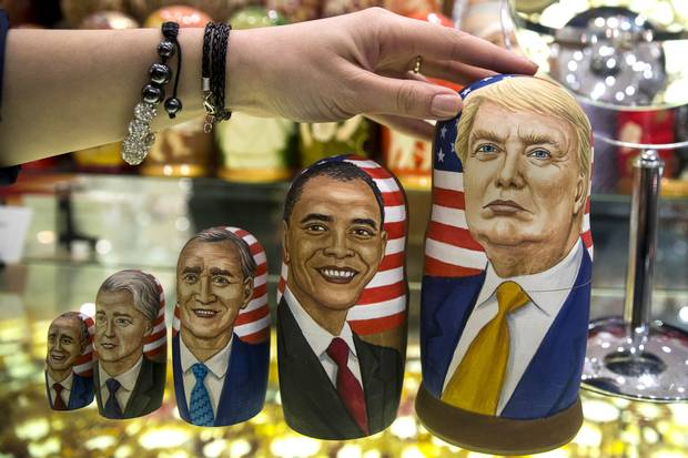Traditional Russian wooden dolls depict Donald Trump, right, and othe U.S. presidents at a shop in Moscow.