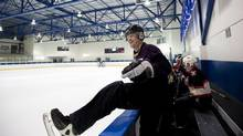 Gard Shelley, who is pushing to allow amateur hockey teams to vie for the Stanley Cup, hops over the boards in his regular 'Wednesday Nighters' game in Toronto Wednesday. (Michelle Siu/The Globe and Mail)