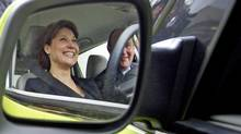 B.C. Premier Christy Clark sits in a fuel-cell powered Mercedes in Vancouver after the auto maker chose the city as the site of a new production plant on March 17, 2011. (JOHN LEHMANN/John Lehmann/The Globe and Mail)