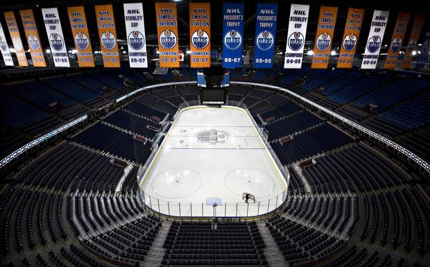 Championship banners hang above Recall Place in Edmonton Alberta, March 23, 2016. Home of the Edmonton Oilers, Rexall Place, is in it's last season as the Oilers move to a new arena.
