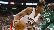 Toronto Raptors forward Rudy Gay (22) drives to the net against Boston Celtics forward Jeff Green (8) during the first half at Air Canada Centre. (JOHN E. SOKOLOWSKI/USA TODAY SPORTS)