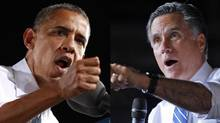 Presidential contenders: Incumbent Barack Obama and challenger Mitt Romney. (KEVIN LAMARQUE / BRIAN SNYDER/REUTERS)