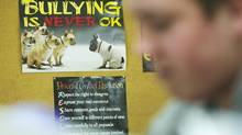 An anti-bullying poster lines the wall at Carleton Place High School Institute in Carleton Place, Ont. (KEVIN VAN PAASSEN/THE GLOBE AND MAIL)