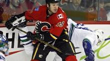 Wayne Primeau while playing for the Calgary Flames in the 2007-08 season. (Jeff McIntosh)