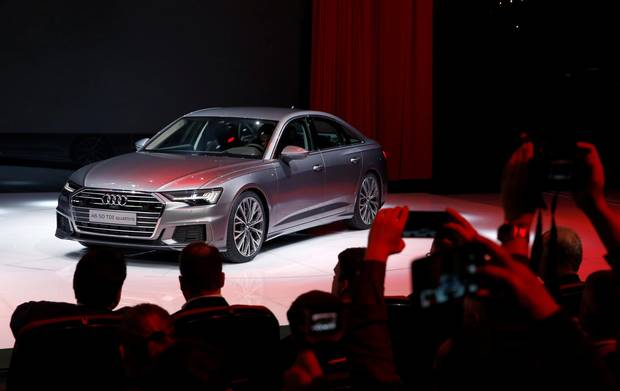 The new Audi A6 is seen during a presentation at the 88th International Motor Show at Palexpo in Geneva, Switzerland, March 6, 2018.