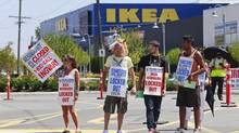 Ikea workers picket outside the Richmond Ikea store in Richmond, B.C. July 18, 2013. (Jeff Vinnick For The Globe and Mail)