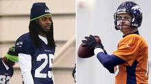 Seattle's Richard Sherman and Denver's Peyton Manning (Associated Press)