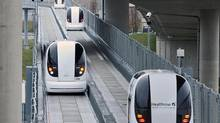 Personal rapid transit vehicles at London's Heathrow airport. (Lee Durant/ULTra PRT - www.ultraprt.com)