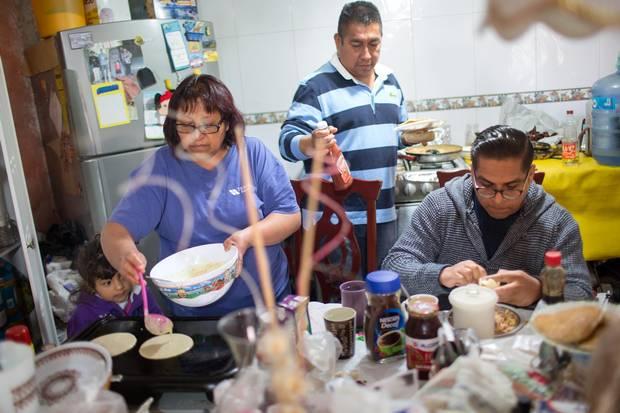 Breakfast in Mr. Meza's family home.