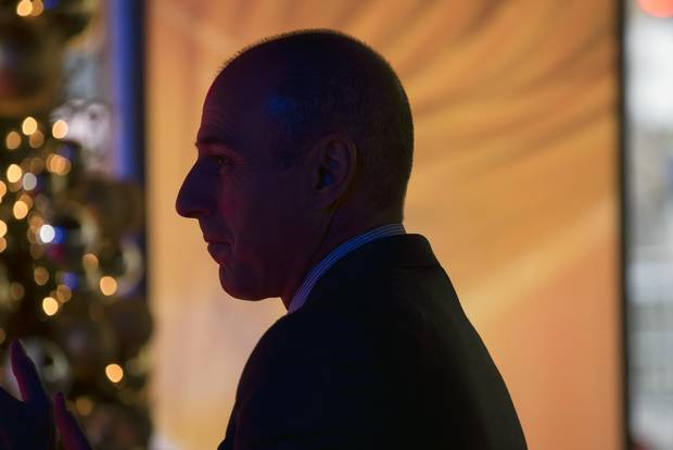 Matt Lauer watches the Today show crew conclude filming in New York, on Dec. 12, 2014.