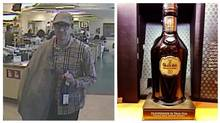 A suspect is captured on a surveillance video in a Toronto liquor store where police say he walked out with a $26,000 bottle of 50-year-old Glenfiddich scotch.