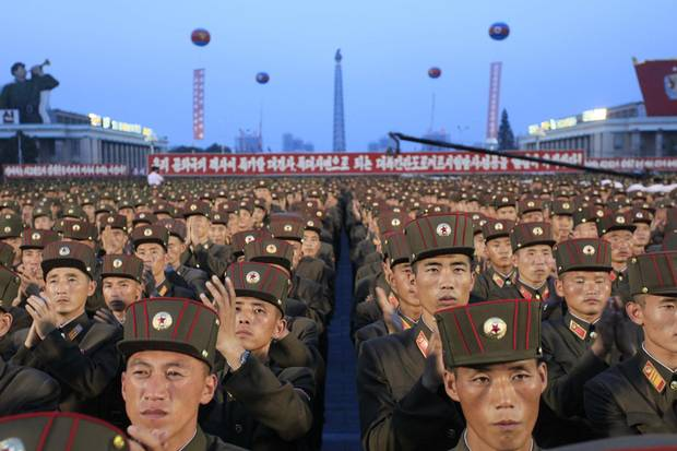 Soldiers gather in Kim Il Sung Square in Pyongyang, North Korea,Thursday, July 6, 2017, to celebrate the test launch of North Korea's first intercontinental ballistic missile two days earlier.