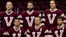 Top row from left, Vancouver Canucks' Cam Barker, Zack Kassian, Andrew Alberts and bottom from left, Kevin Bieksa, Daniel Sedin, of Sweden, and Ryan Kesler wear replica Vancouver Millionaires uniforms while posing for a team photograph in Vancouver, B.C., on Friday March 1, 2013. The team will sport the uniforms during their NHL hockey game against the Detroit Red Wings on March 16. The Millionaires played in the Pacific Coast Hockey Association and the Western Canada Hockey League between 1911 and 1926. (DARRYL DYCK/THE CANADIAN PRESS)