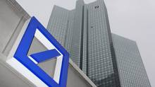 A Deutsche Bank logo is pictured in front of the Deutsche Bank headquarters in Frankfurt February 24, 2011. (© Ralph Orlowski / Reuters)