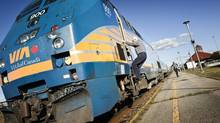 A VIA Rail Canada train at Dorval Train Station in Dorval, Quebec, Canada, Sept. 27, 2012. As airlines work with rail companies on combined trips, air travelers may find themselves taking part of their jounrey on the ground. (YANNICK GRANDMONT/NYT)