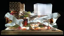 An image from Frank Gehry's designs for David Mirvish's project to remake his properties at King Street West and John St. in Toronto. (Courtesy of Gehry International Inc.)