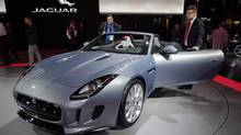 The new Jaguar F-Type at the press day at the Paris Auto Show, France, Thursday, Sept. 27, 2012. The Paris Auto Show will open its gates to the public from Sept. 29 to Oct. 14. (Michel Euler/AP)