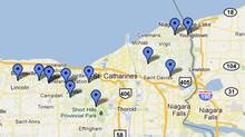 A Google map of Niagara wineries. (google.com)