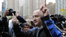 Computer security expert Byron Sonne reacts as he leaves the University Avenue Courthouse after spending the last 10 months in jail accused of possessing explosives in the days before the G20. Toronto May 17, 2010. (The Globe and Mail/Fernando Morales/The Globe and Mail/Fernando Morales)