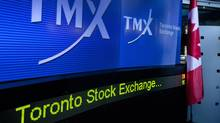 "TMX Group Inc. signage is displayed on a screen in the broadcast center of the Toronto Stock Exchange (TSX) in Toronto, Ontario, Canada, on Monday, Oct. 31, 2011. A takeover of Toronto Stock Exchange owner TMX Group Inc. by a group of Canadian banks and pension funds is ""significantly"" more likely to succeed after TMX's board endorsed the C$3.73 billion ($3.73 billion) offer, analysts said. Photographer: Norm Betts/Bloomberg (Norm Betts/Bloomberg)"