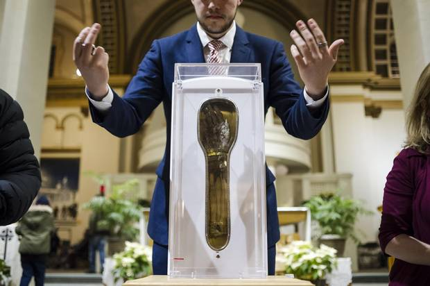 A public viewing of an ancient Catholic relic, the 460-year-old arm of St Francis Xavier, was held at the Our Lady of Lourdes church in Toronto on Jan. 14, 2018.