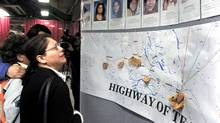 Audrey Auger weeps as she looks at a display of missing and murdered women along Highway 16 during the Highway of Tears Symposium Thursday, Marchc 30, 2006 in Prince George, B.C.. The body of Auger's 14-year-old daughter, Aielah Saric-Auger, was found Feb. 10 in a ditch along Highway 16 East, about 20 kilometres east of Prince George. (Dave Milne/The Canadian Press/Dave Milne/The Canadian Press)
