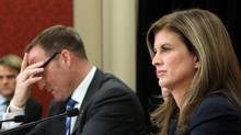 Defence Minister Peter MacKay(left)and Public Works Minister Rona Ambrose(right) take part in a news conference on report regarding the purchase of the F-35 fighter jets on Parliament Hill in Ottawa Wednesday December 12, 2012. (FRED CHARTRAND/THE CANADIAN PRESS)