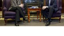 Ontario Premier Dalton McGuinty chats with Alberta Premier Alison Redford in his office at the Ontario Legislature in Toronto on Nov. 16, 2011. (Chris Young/THE CANADIAN PRESS/Chris Young/THE CANADIAN PRESS)