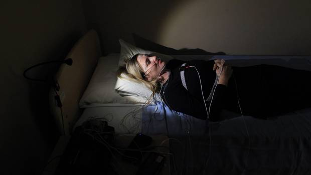Globe and Mail writer Erin Anderssen takes part in a sleep disorder test at the Royal Ottawa Hospital Sleep Lab November 7, 2016 in Ottawa.