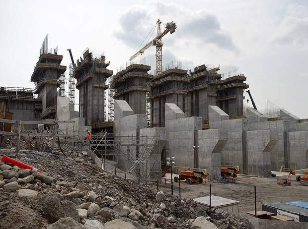 The construction site of the hydroelectric facility at Muskrat Falls, seen in July of 2015.